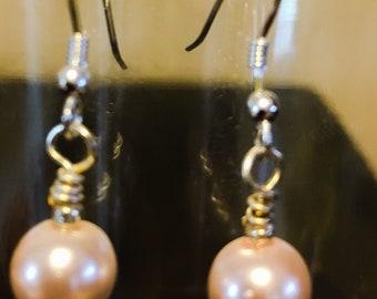 Pink Glass Pearl Earrings