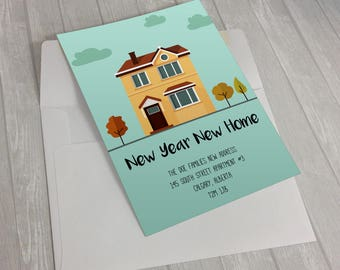 Moving Announcement,Moving Announcement Print,Newlyweds Address Announcement,New Address Card,New Address Announcement, New Year New Home