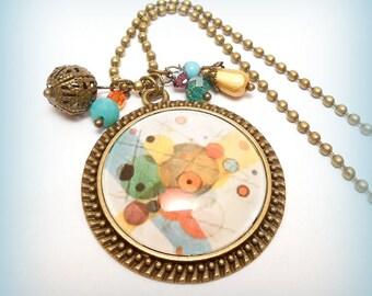 """""""Détail - Kandinsky"""" glass Cabochon necklace"""