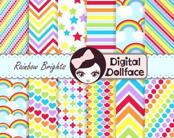 Rainbow Digital Paper, Rainbow Scrapbook Paper, Chevron, Stripes, & Polka Dots