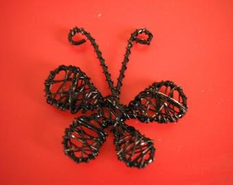 Wire metal worked 40 mm black Butterfly