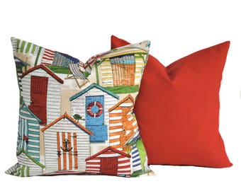 2 Outdoor pillow covers, cushion, decorative throw pillow, Red pillow, accent pillow, outdoor pillow, Beach huts pillow