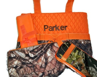 PERSONALIZED 4 Piece Diaper Bag Set with Name - Baby Boy Camo and Orange Personalized Diaper Bag, Pouch, Wipe Case, and Changing Pad