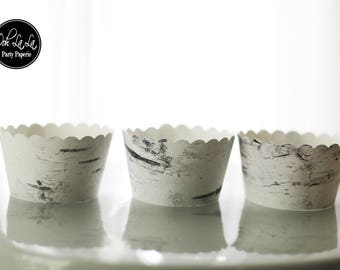 MADE TO ORDER White Birch Tree Bark-style Cupcake Wrappers- Set of 12