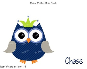 Gray Blue Owl Note Cards Set of 10 personalized flat or folded cards