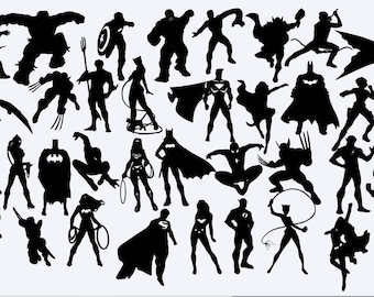 Superhero die cut out silhouette - 35 different cutout superhero shapes.   Great for fairy jar, cardmaking, scrapbooking, toppers