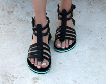 Black Gladietor / Platform Blue /Strappy Sandals/Greek Sandals/Aelia Greek Sandals/Handmade Shoes