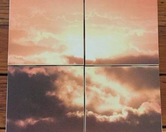 Sun and Clouds Coasters- Set of 4 Ceramic Coasters