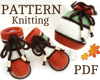Knitting PATTERN Baby Booties Baby Shoes Pattern Knit Baby Uggs Baby Hat Baby Beanie Knitted Baby Set Infant Baby Boy Baby Girl Children Cap