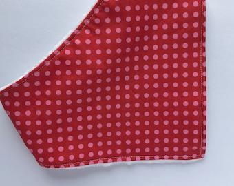 Polka Dots Bib - Baby - Baby Bandana Bib - Dots Bib - Drool Bib - Baby Shower Gift - Bibs & Burping - Red and Pink