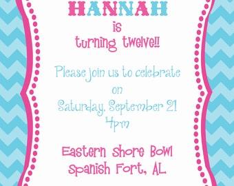 Chevron and Pennant Birthday Invitation