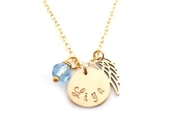 Personalized Name Angel Wing Necklace - Memorial Necklace - Miscarriage Necklace - Loss Necklace - 14k Gold Filled - Memorial Jewelry