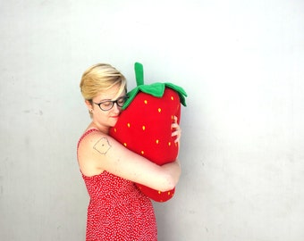 Pre-order Giant Strawberry Pillow - Large Fruit Plush - Berry Body Pillow