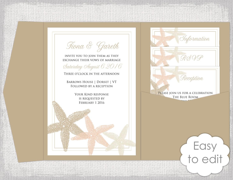 Destination Wedding Invitation Pocket Template DIY Ecru Sand