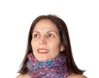 infinity scarf, versatile infinity scarf,tubular infinity scarf, knit infinity scarf,colorful infinity scarf,winter scarf, finger knit scarf