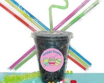 Easter Party Cups, Easter Cups, Kids Birthday Party Cups, 20 Cups, Easter Kids Party Cups, Straws and Lids, 12 Ounce Cups