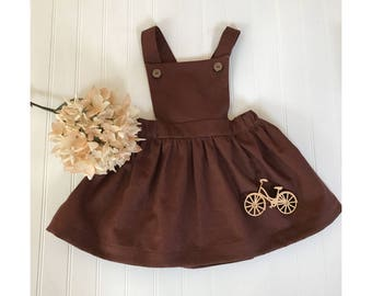 Girls dresses Chocolate dress Girls pinafore dress Brown dress Girls linen dress Juliette pinafore Baby pinafore dress Girls linen dress