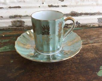Vintage Teacup Tea Cup and Saucer Lusterware Gold Gilding Green Demitasse
