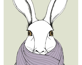 Bundled Up Bunny illustration print