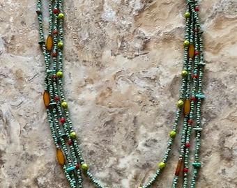 Multi Strand Turquoise Beaded Necklace