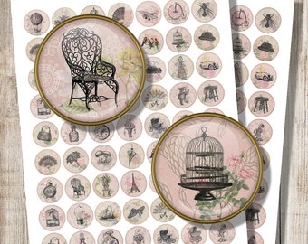 Vintage Jewelry Images, Digital Collage Sheet, 20 mm, 1 inch Circles, Printable Ephemera Drawing, Birdcage, Automobile, Instant Download, f9