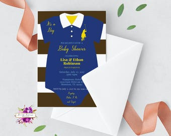 Baby Shower Invitation - Polo Prep - Baby One Piece - Baby Outfit - Blue Yellow and Brown - Custom Colors - Printable Digital Invitation