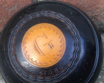 Antique Lawn Bowling ball G number 3 yellow bakelite Thomas Taylor