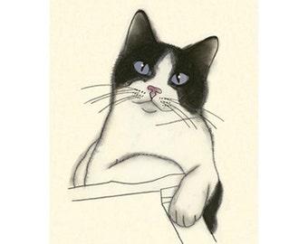 Cat drawing Cat Art Earl   4 X 6 print of original drawing - 4 for 3 SALE