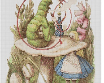 Counted Cross Stitch Pattern, Alice In Wonderland Art, Children, Alice and the Caterpillar, Instant PDF Download