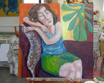 Wall Art painting Portrait girl resting daydreaming The Girl Original Handmade 40 x 30 inch
