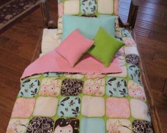 "Handmade 5-Pc. Owl Patchwork/PinkFleece Bedding for 18"" Doll"
