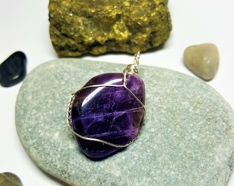 Amethyst Silver Plated Wired Wrapped Handmade Pendant