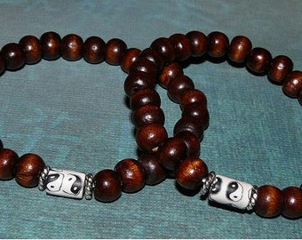 2 Friendship (or His and Hers )Yin Yang Bead and Wood Beads Buddha Unisex Bracelets