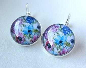 Handmade earrings with flower, custom earrings, custom jewelry, gift for her original individual