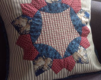 Handmade, patchwork pieced cushion