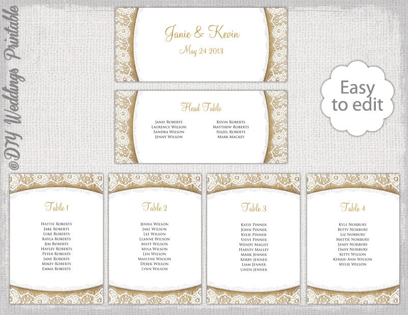 Rustic seating chart template burlap lace zoom pronofoot35fo Choice Image