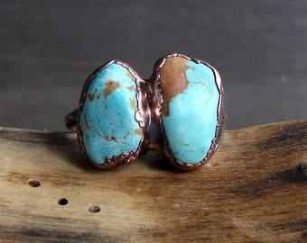 Turquoise Dual Stone Ring Raw Gemstone Birthstone Size 9 December Copper Jewelry Robins Egg Blue Midwest Alchemy