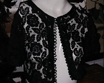 1950s Black lace bolero cropped jacket