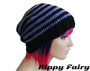 Punk rock , scene emo,Slouch beanie, punk hat, womans crochet hat, pastel goth, gothic hat.