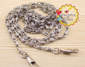 Set of 5 pieces 120cm 4mm silver purse with snap clip link chain
