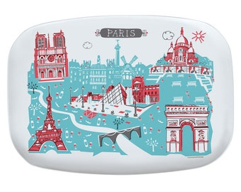Paris City Platter-City Platter-Melamine Platter-City Serving Platter-Turquoise-Red-Personalized-Custom-Any City Platter