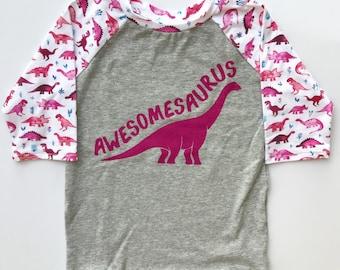 Awesomesaurus Dinosaur Watercolor Dino Sleeve RaglanTODDLER Pink Purple Tee Girls