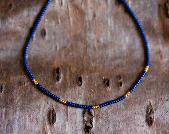 Thin stacking necklace - navy blue and gold plated - minimalist and simple