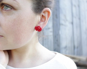 Small stud earrings Tiny earrings Red stud earrings Dainty earrings stud Red earrings Red small earrings Soutache earrings Red Post earrings