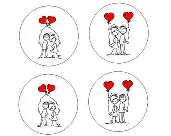 """16mm, 4 """"in love balloons"""" cabochons"""