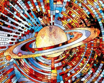 Planet Stained Glass Abstract Mosaic Science Postcard Poster Art Print Q45