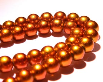 glass Pearly shiny - 8 mm - Golden - PG81 10 beads