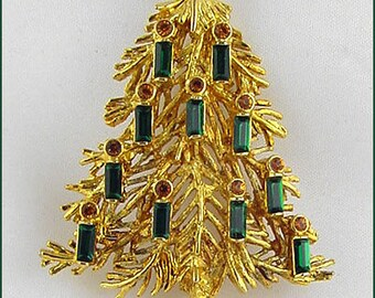 Eisenberg Ice Christmas Tree Pin,Gold Tone Christmas Tree Pin,Eisenberg Christmas Tree Pin with Green Candles  (Inventory #J1002)