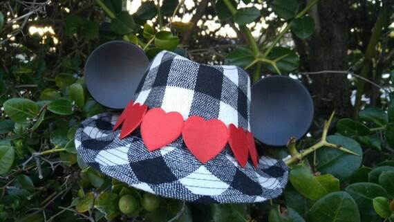 Kids Mickey Valentines Hat. Mickey Ears. Mickey Fedora.