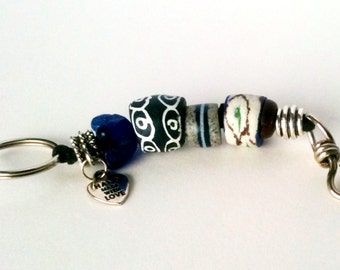 Large African Bead Keychain